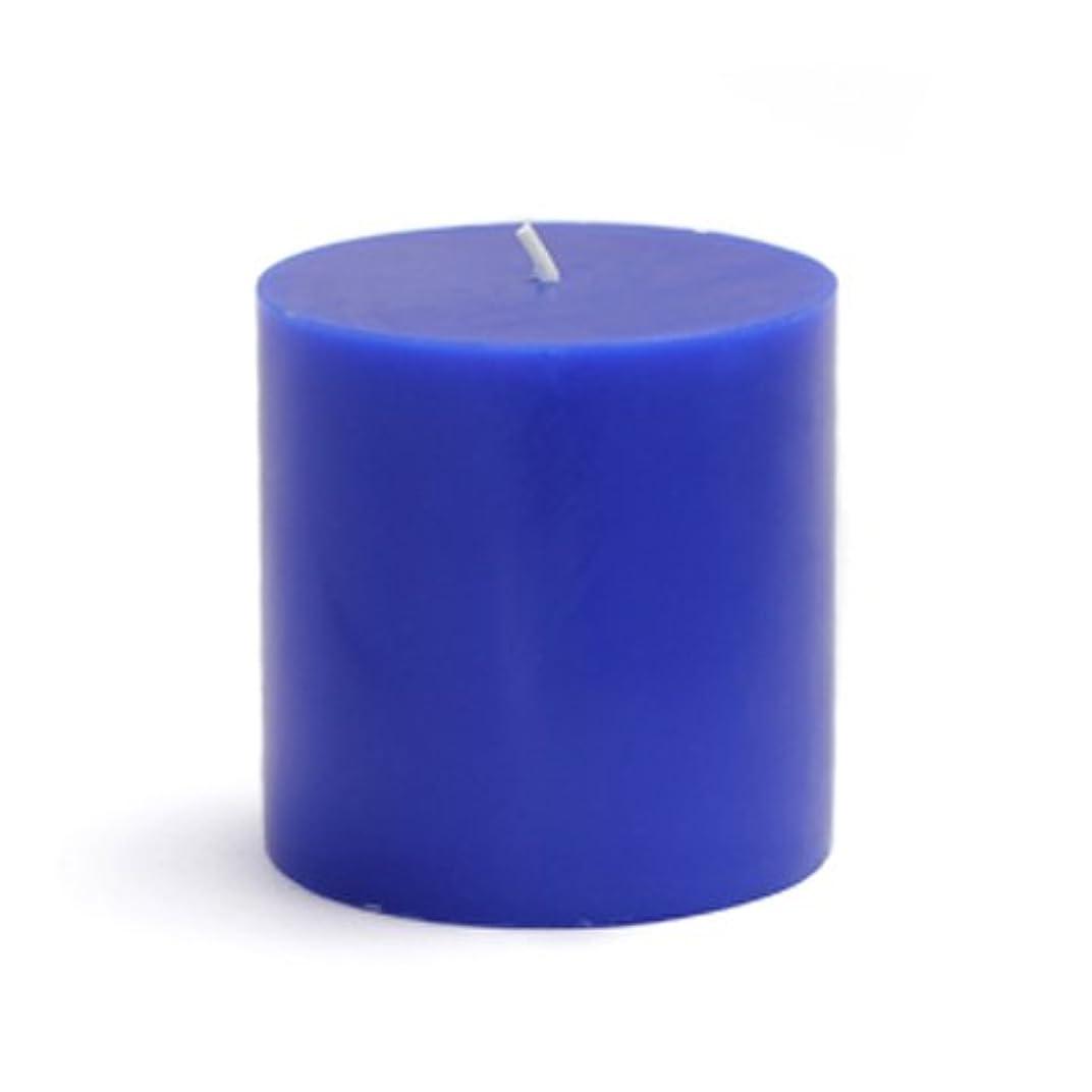 紳士気取りの、きざなガラス非武装化Zest Candle CPZ-077-12 3 x 3 in. Blue Pillar Candles -12pcs-Case- Bulk