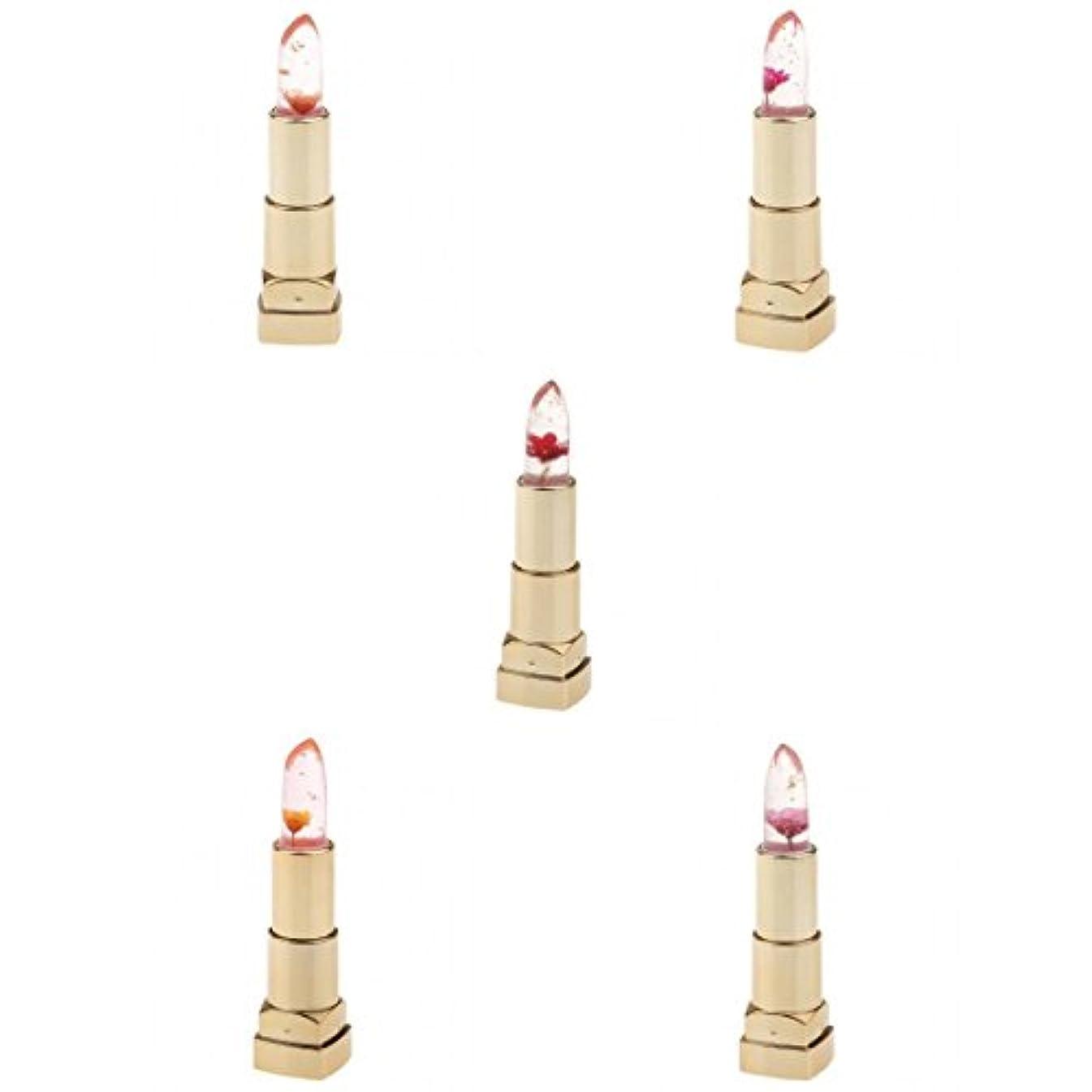 パラシュート接地ディレイリップスティック 口紅 透明 色変化 お花 リップグロス 保湿 防水 持久 おしゃれ 3個入り - #1