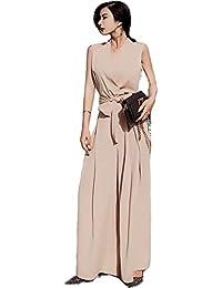 [ ナチュシー ] レディース 【 Vネック オールインワン 】 ワイドパンツ ドレス セットアップ