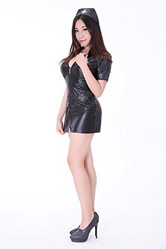 Faux leather nurse costume & nurse outfit (SR33-4H) female M size black
