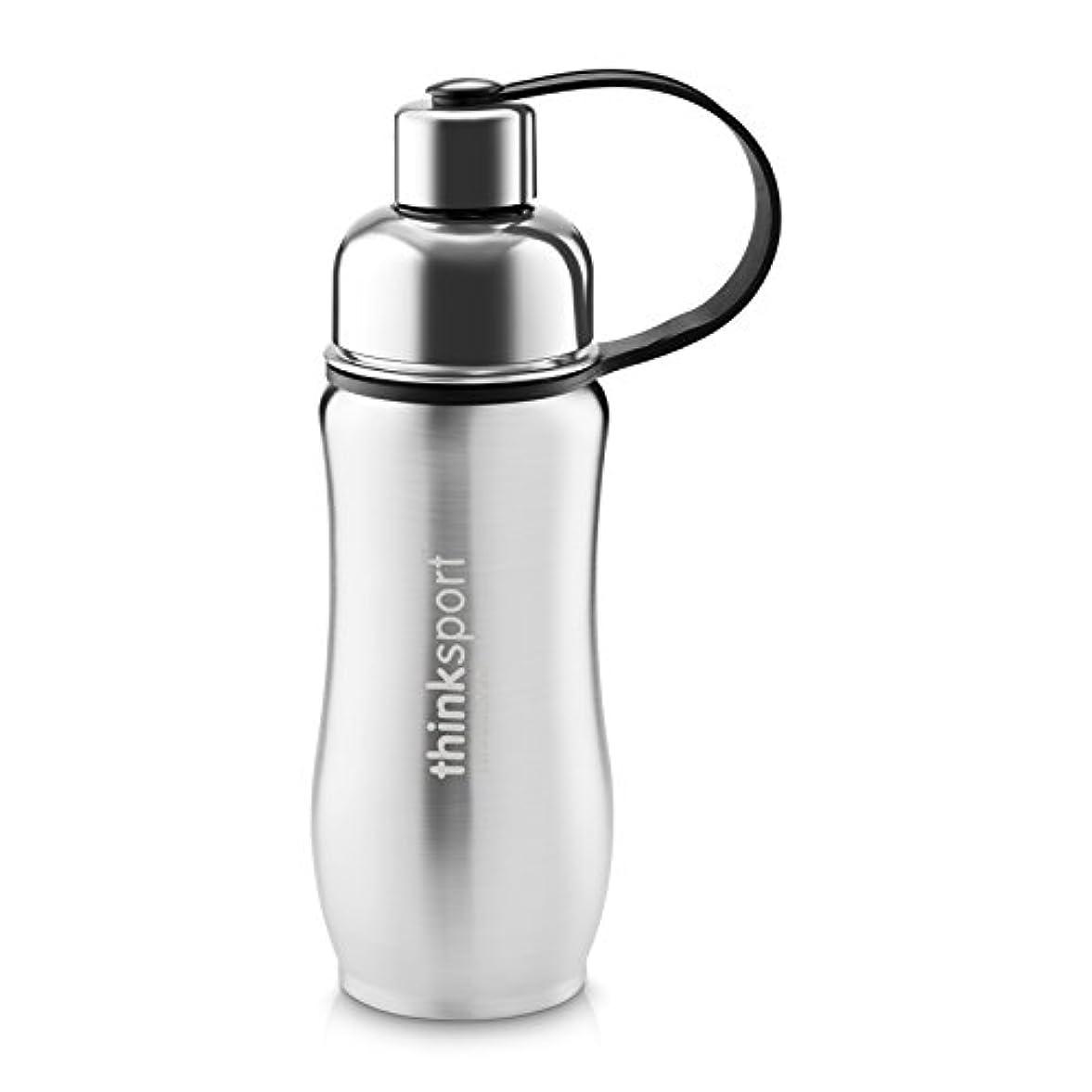 穀物回転するイタリアのThinkSport Sports Bottle (12oz) - Silver by organicKidz