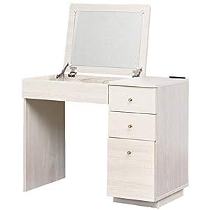 ドレッサー デスク 化粧台 鏡台 コンセント付き 幅90.0×奥行49.5×高さ72cm ホワイト 97437
