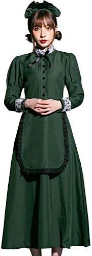 [ブライトララ] ハロウィン コスプレ 洋館メイド メイド服 メイド 緑 長袖 仮装 コスチューム 大人
