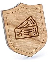 飛行機チケットラペルピン、木製ピンとタイタック|素朴な、ミニマルGroomsmenギフト、ウェディングアクセサリー