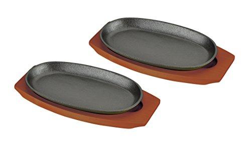 パール金属 ステーキ皿 鉄板 24cm 小判型 2枚組 ハンドル付 木製 プレート2枚組 HB-3026