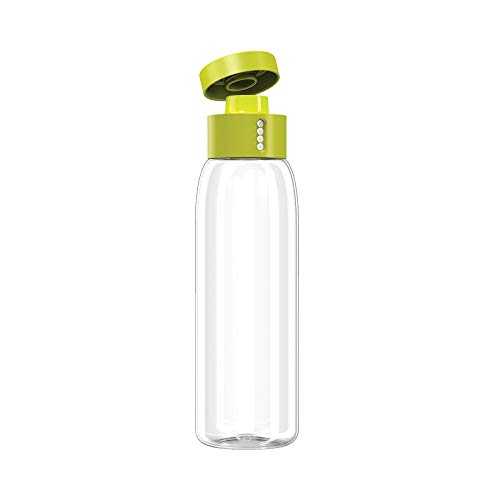 Joseph Joseph 81053 Dot Hydration-Tracking Water Bottle Counts Water Intake Tracks Consumption On Lid Twist Top, 20-Ounce, Gray