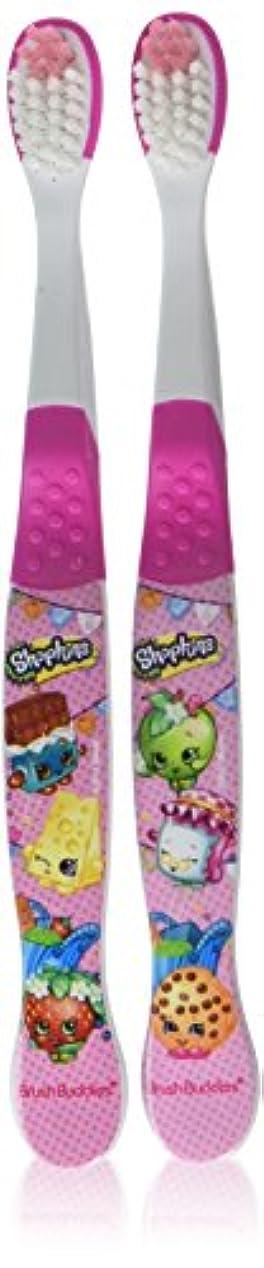 司教プット抵抗力があるBrush Buddies Shopkins手動歯ブラシ2をEA(2パック)