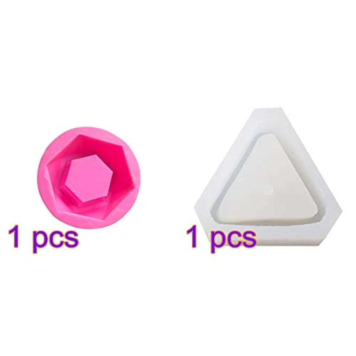 文字サイクル相対的SUPVOX シリコーン金型多肉植物植物セメントプランター金型ホームインテリア(三角形+ダイヤモンド)