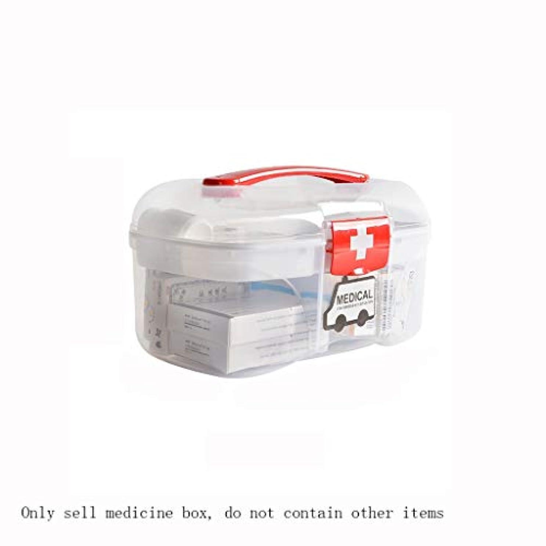 倒産実験室春家庭用二層医療ボックス透明中小薬品箱救急箱携帯用薬品収納ボックス家庭用医療箱 ZHYGDQ