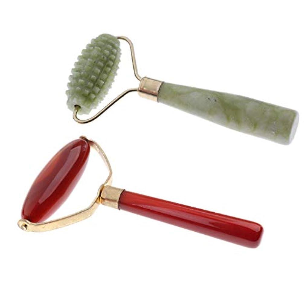 タップ唯物論伝統ジェイドマッサージローラー 顔 首 背中 腕 脚などに使用 美容ツール 2ピース