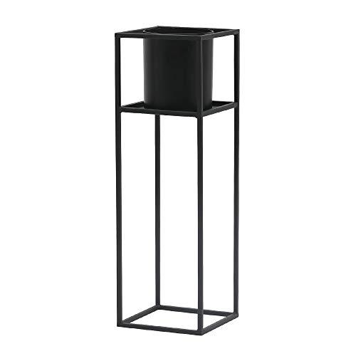 roomnhome(ルームアンドホーム) フラワーベース ブラック 21.6×21.6×68.2cm 鉢カバー 植木鉢 スタンド 観葉植物 キューブ 682