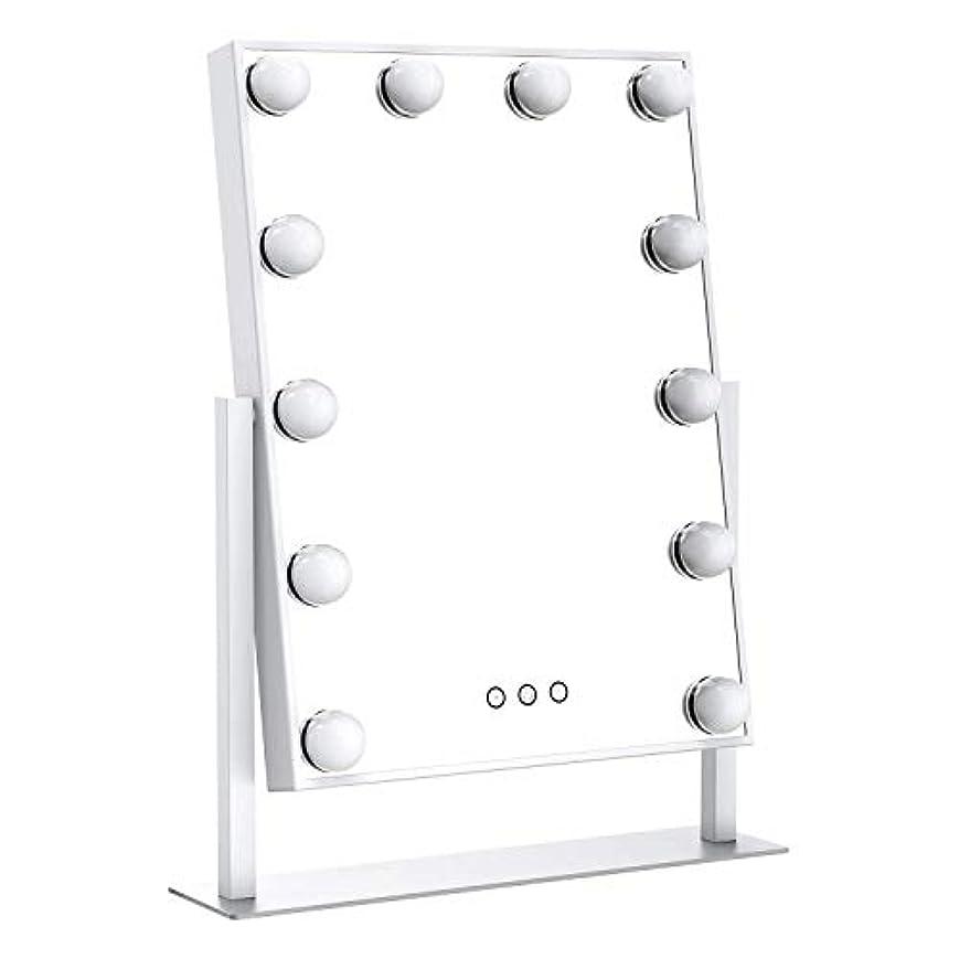 アニメーション質量先駆者Ovonniハリウッドミラーメイクアップミラープロ用 女優鏡 ライト 明るさ調節可能 12個LED電球付き 3種ライトモード(シルバー、大)