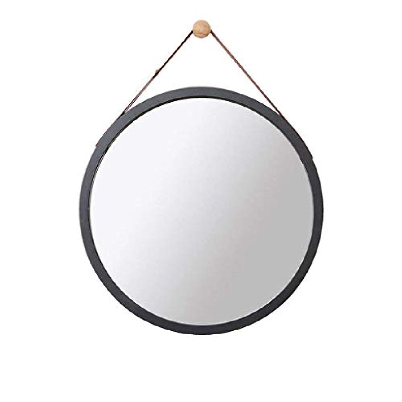 主カフェタクトSelm 壁掛けミラー、壁掛けミラー、化粧鏡、バスルーム装飾、吊り鏡 (Color : Black, Size : 45CM)