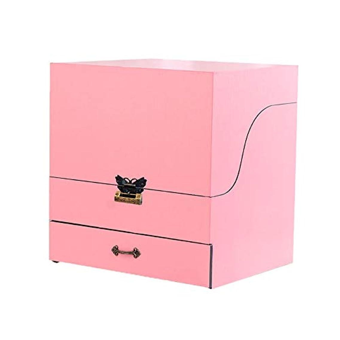 キャンバス既婚夕方メイクボックス コスメボックス ジュエリー収納ボックス 鏡付き 大容量 木製 化粧品収納 ジュエリー収納 小物入り おしゃれ 可愛い ホワイト コルク ピンク プレゼント