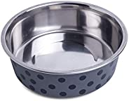 Petface Bella Stainless Steel Food or Water Bowl for Dogs, Grey/Black,Medium