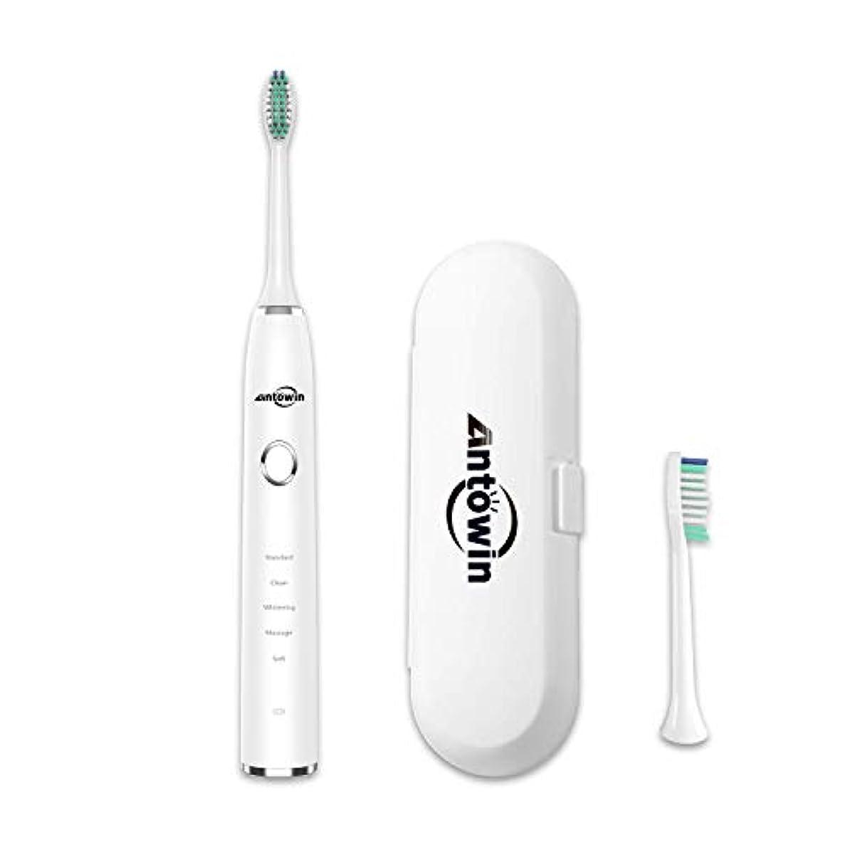 娘連続的原子電動歯ブラシ antowin 5モード IPX8防水ボディ 替え歯ブラシ 2本付属 持ち運び 旅用 2分オートタイマー 歯磨き 小型ケース付属 H9 ホワイト