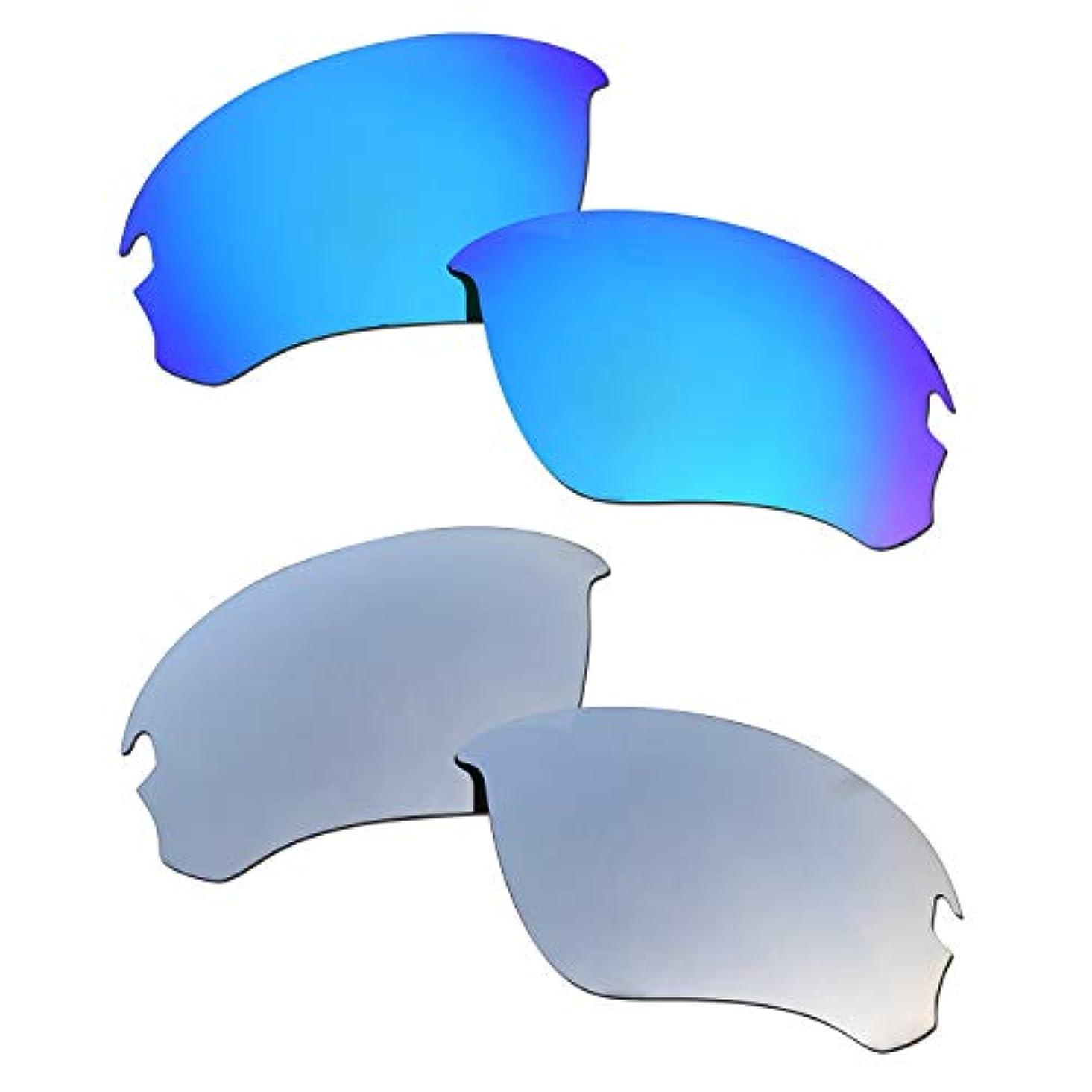 昆虫問い合わせるコンプライアンスSOODASE 為に Oakley Flak Draft サングラス ブルー/ぎんいろ 2 ペア 偏光交換使用するレンズ