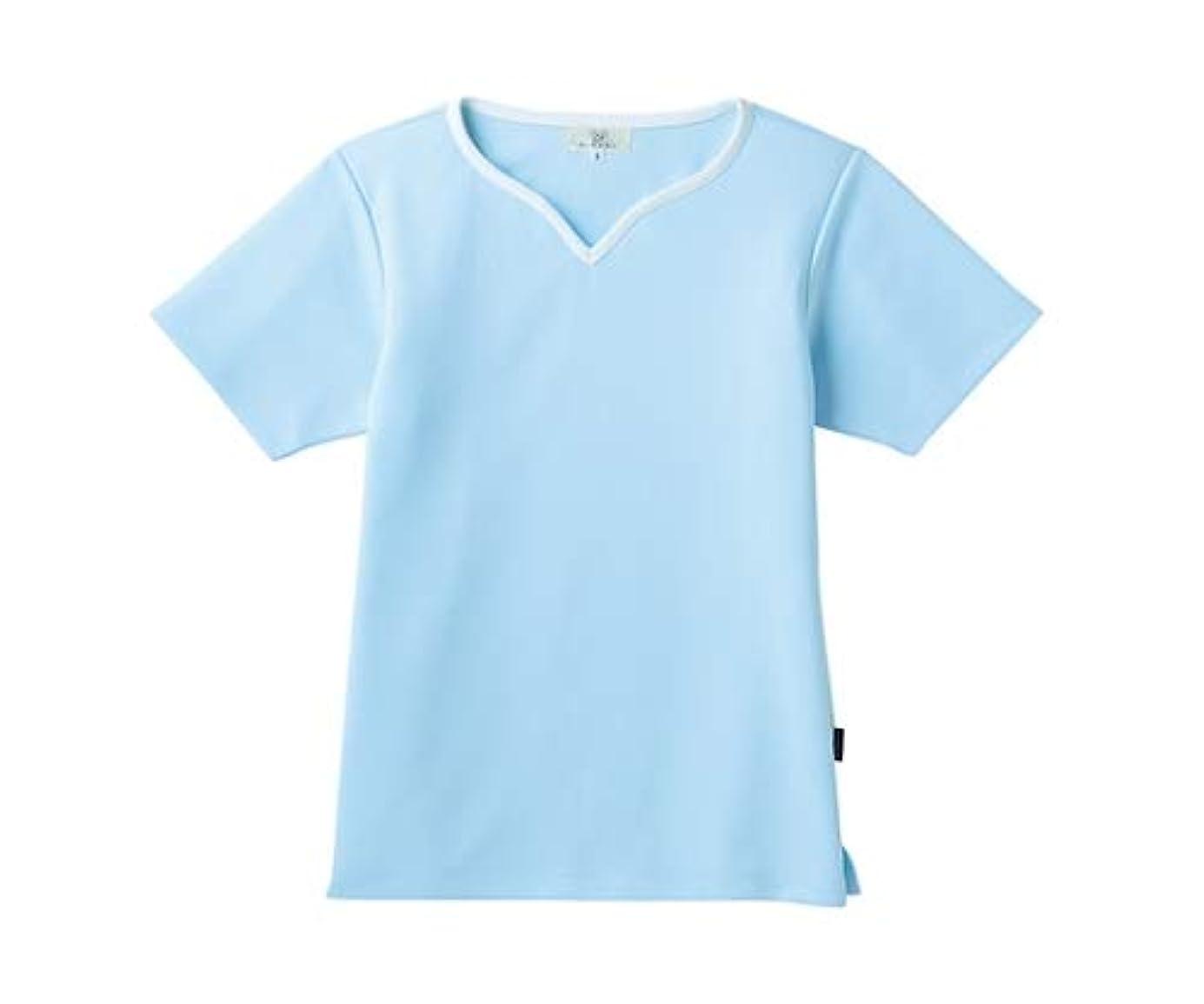 公爵夫人確認マイクロフォントンボ/KIRAKU レディス入浴介助用シャツ CR161 L サックス