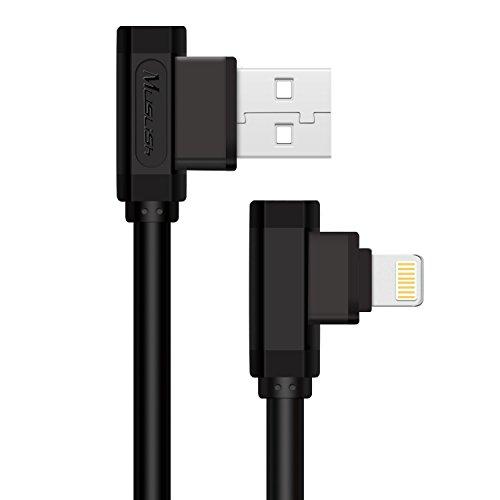Muslish USBケーブル L字型 ライトニング USB 充電ケーブル 高速データ転送&充電 対応iPhone、iPad、iPod各種対応 (1m, ブラック)