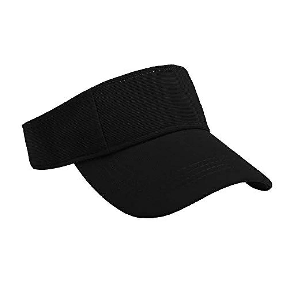 Merssavo ユニセックスサマースポーツキャップ、サン帽子レディーステニスゴルフバイザーメッシュ野球帽、調節可能な屋外オープントップヘッドトラベルハイキング帽子、黒