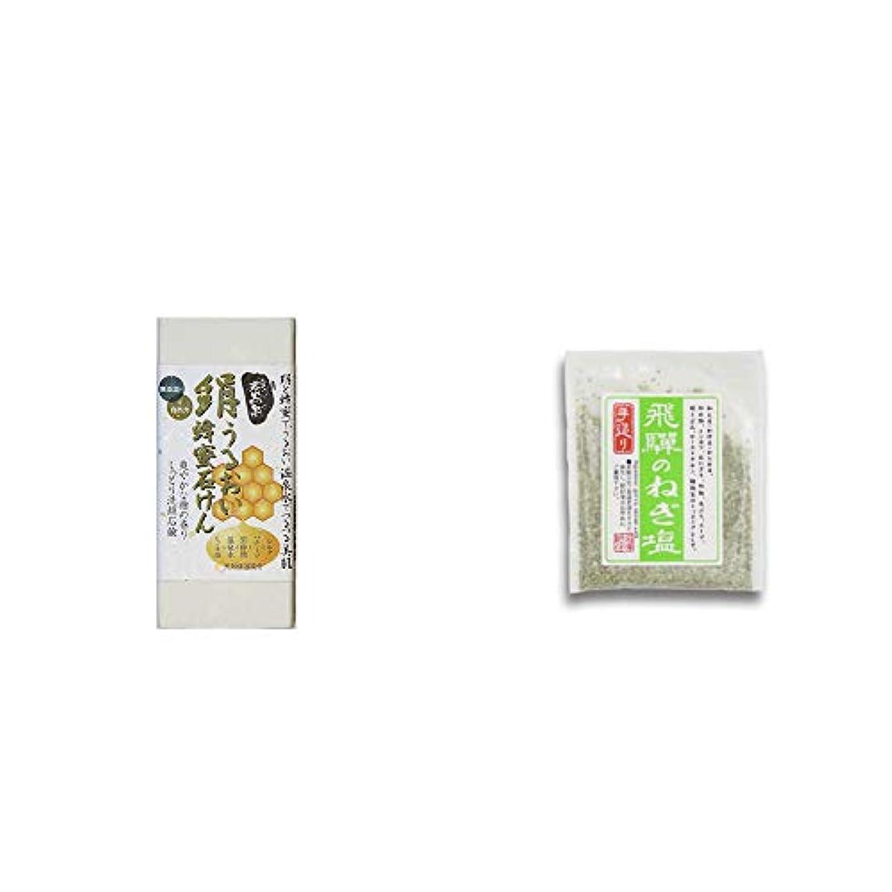 書誌プラス異形[2点セット] ひのき炭黒泉 絹うるおい蜂蜜石けん(75g×2)?手造り 飛騨のねぎ塩(40g)