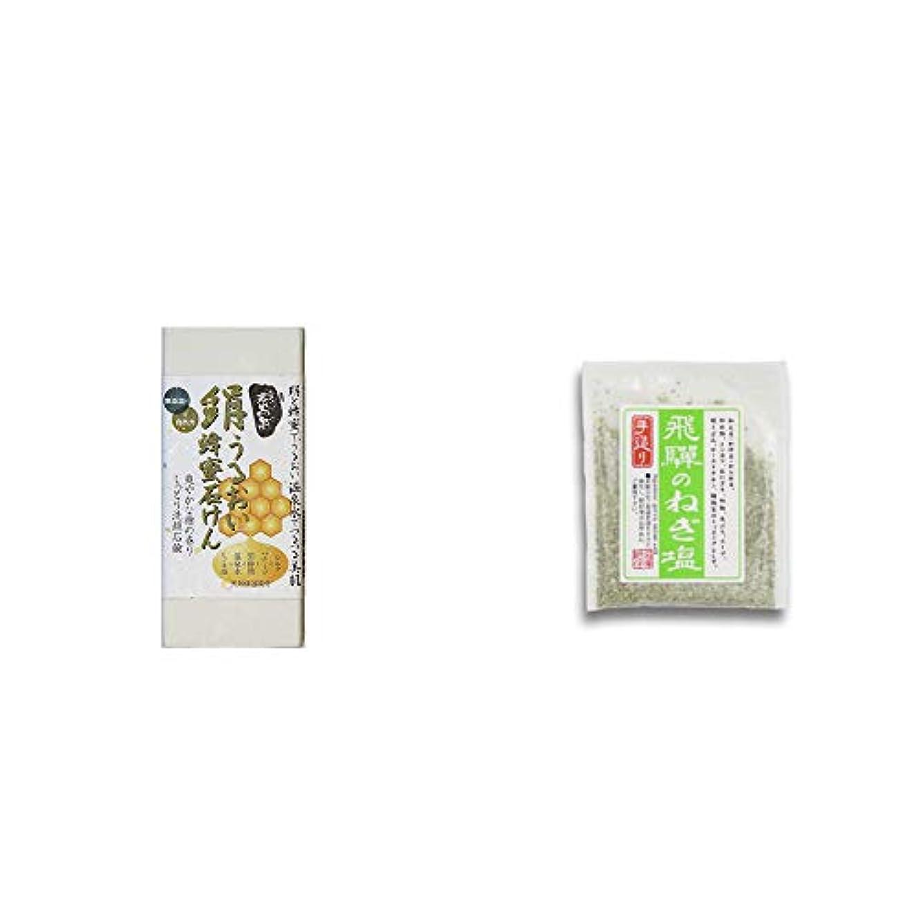 [2点セット] ひのき炭黒泉 絹うるおい蜂蜜石けん(75g×2)?手造り 飛騨のねぎ塩(40g)