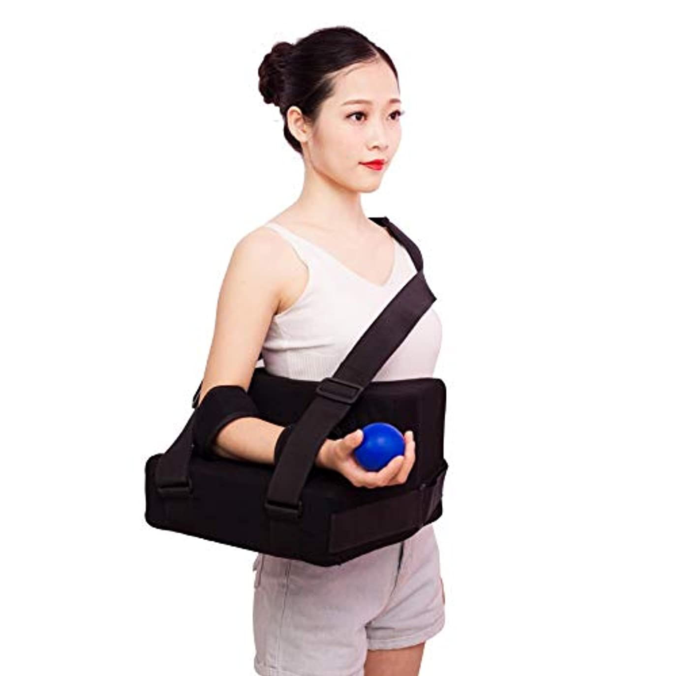 熱高潔なペグ枕付き肩外転スリング、肩アームイモビライザーには、ポケットストラップ、回旋腱板用のストレスボール、手術および骨折した腕が含まれます,Left