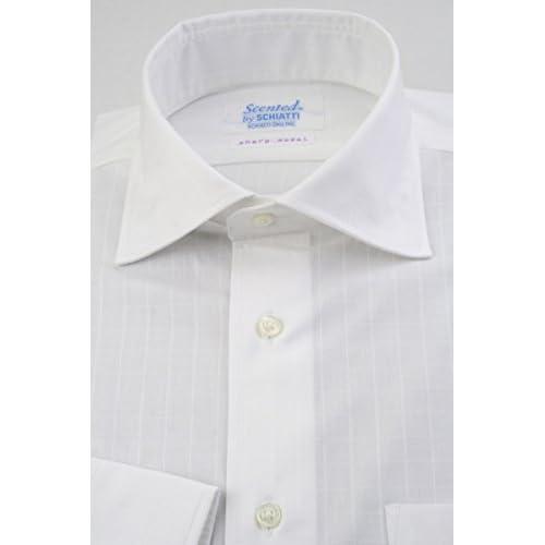 (スキャッティ) Scented 白無地 格子柄ドビー 綿100% ワイドカラー (細身) ドレスシャツ wd4163-3983