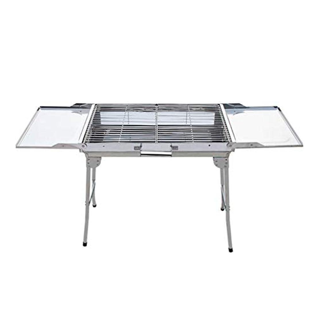 踏みつけ動脈チャンピオンシップSN バーベキューコンロ ステンレス, 軽量 焼肉 BBQ 網 炭火 鉄板 バーベキューコンロ 焚火台 コンパクト バーベキューアミサイズ 60.5X30.5cm