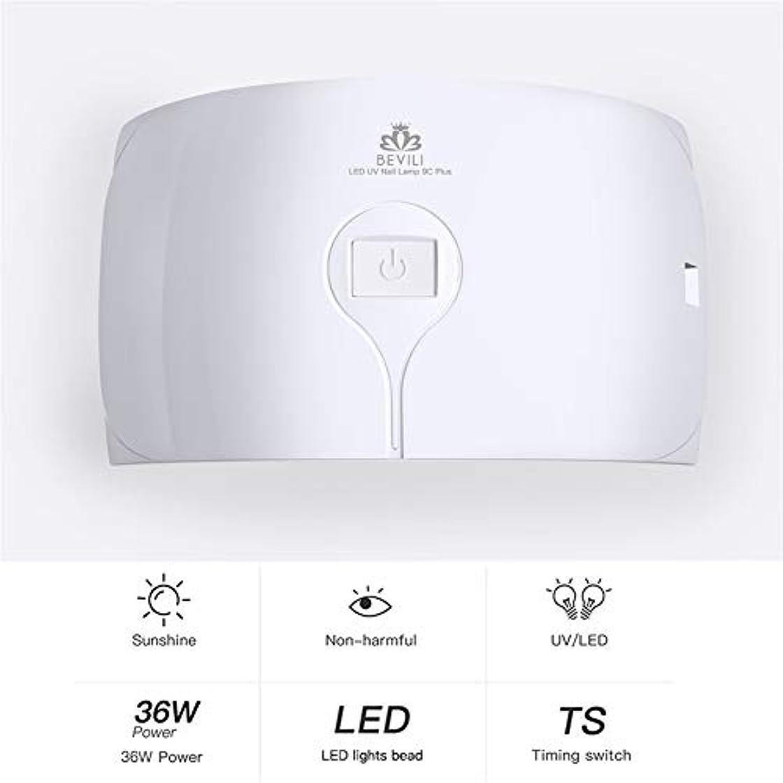 ZHQI-NAIL 36ワットuvランプネイルドライヤー用すべてのタイプジェル15 led uvランプ用ネイル機usb 30 s 60 sタイマーポータブルuvランプ硬化 (色 : 白, Size : Eu plug)