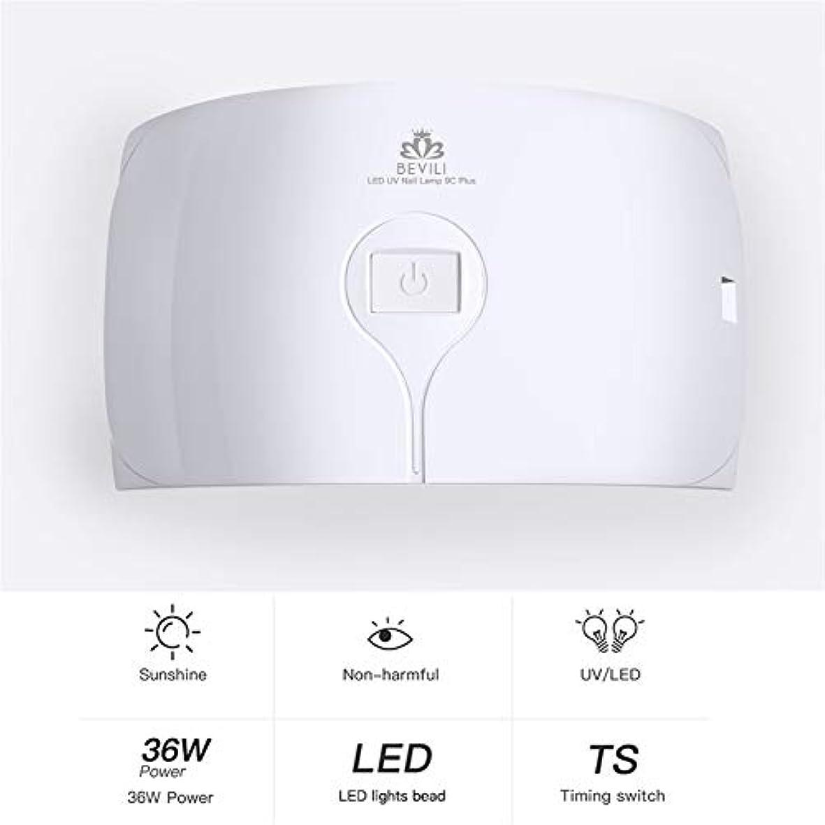 勧告リベラル平野ZHQI-NAIL 36ワットuvランプネイルドライヤー用すべてのタイプジェル15 led uvランプ用ネイル機usb 30 s 60 sタイマーポータブルuvランプ硬化 (色 : 白, Size : Eu plug)