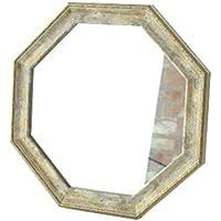 八角形ミラー 鏡 壁掛け 卓上 風水 玄関 リビング 八角ミラー [uwr1071] (ホワイト)