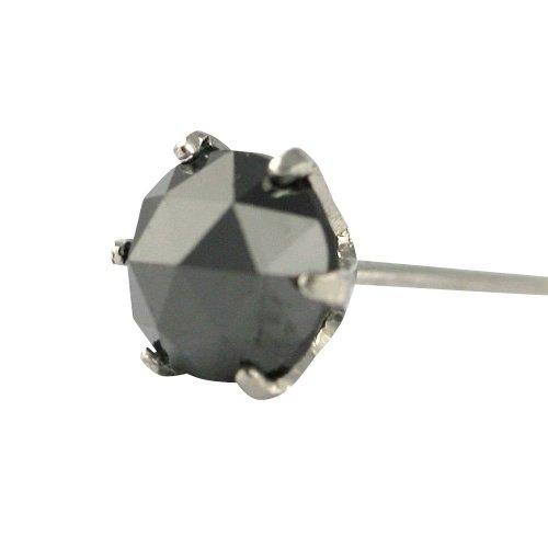 【 DIAMOND WORLD 】レディース ジュエリー PT900 ローズカット ブラックダイヤモンド ピアス 0.45ct 片耳ピアス 6本爪タイプ