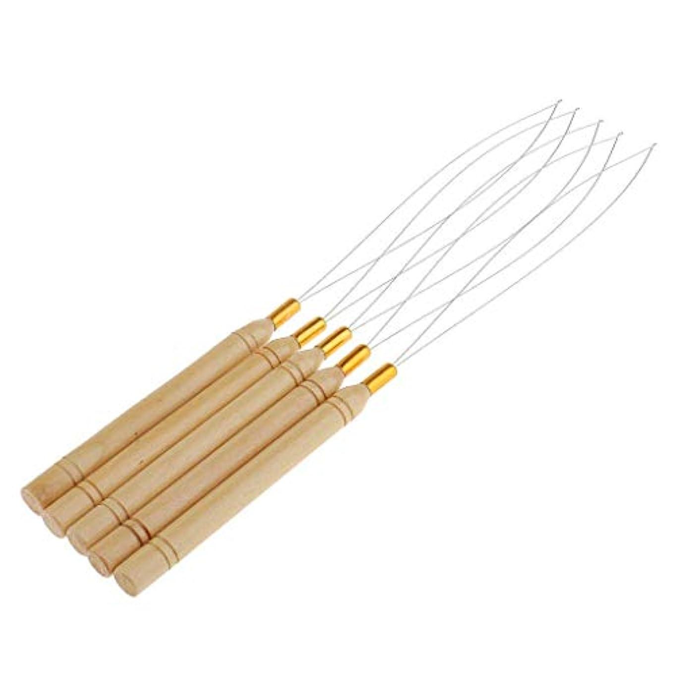 手足睡眠刻むSitrda 5Pcs木製の髪の延長ループループの針の糸を引っ張るフックツール