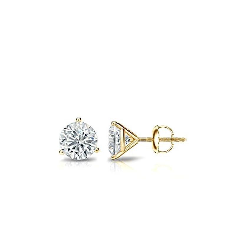 空白封建ダーリン14 Kゴールド3-prong Martiniラウンドダイヤモンドメンズスタッドイヤリング( 1 / 4 – 2 ct、G - H、si1 - si2screw-backs