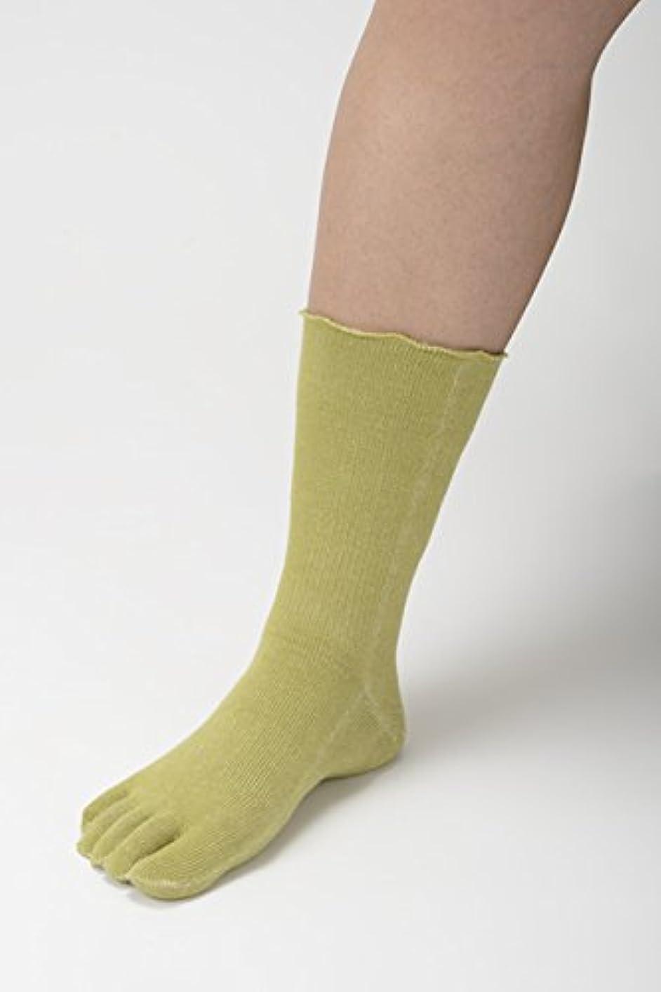 増幅する確立します発疹竹布 TAKEFU 5本指ソックス ライトグリーン25-27cm
