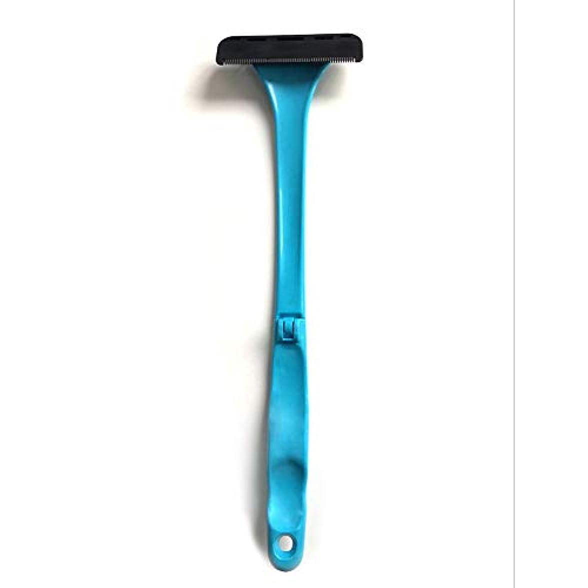 男性用バックヘアーシェーバー2019更新バージョンマニュアル全身ヘアーロングハンドル折りたたみ式ヘア痛みのない湿式または乾式剃毛用カミソリを削除