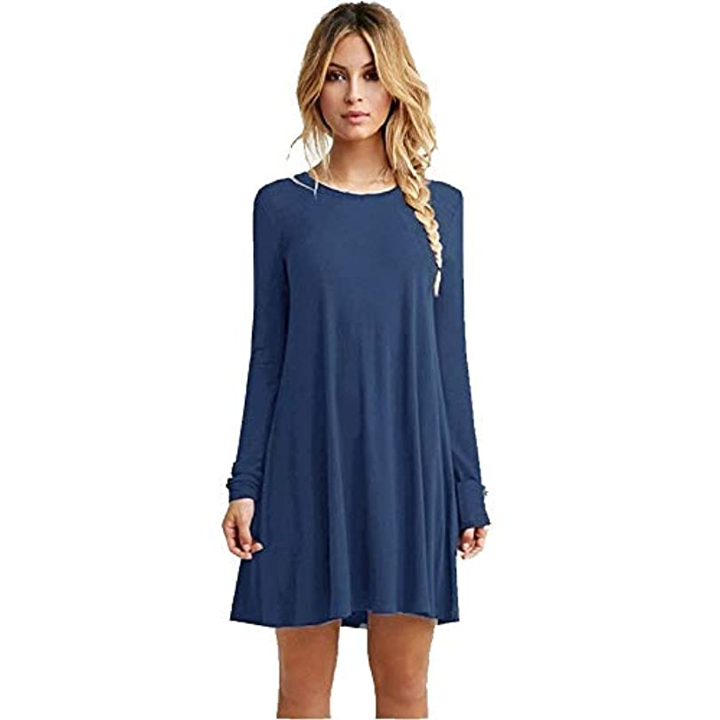 あいまいなベルト偽装するMIFANルースドレス、プラスサイズのドレス、長袖のドレス、女性のドレス、秋のドレス、マキシドレス、コットンドレス