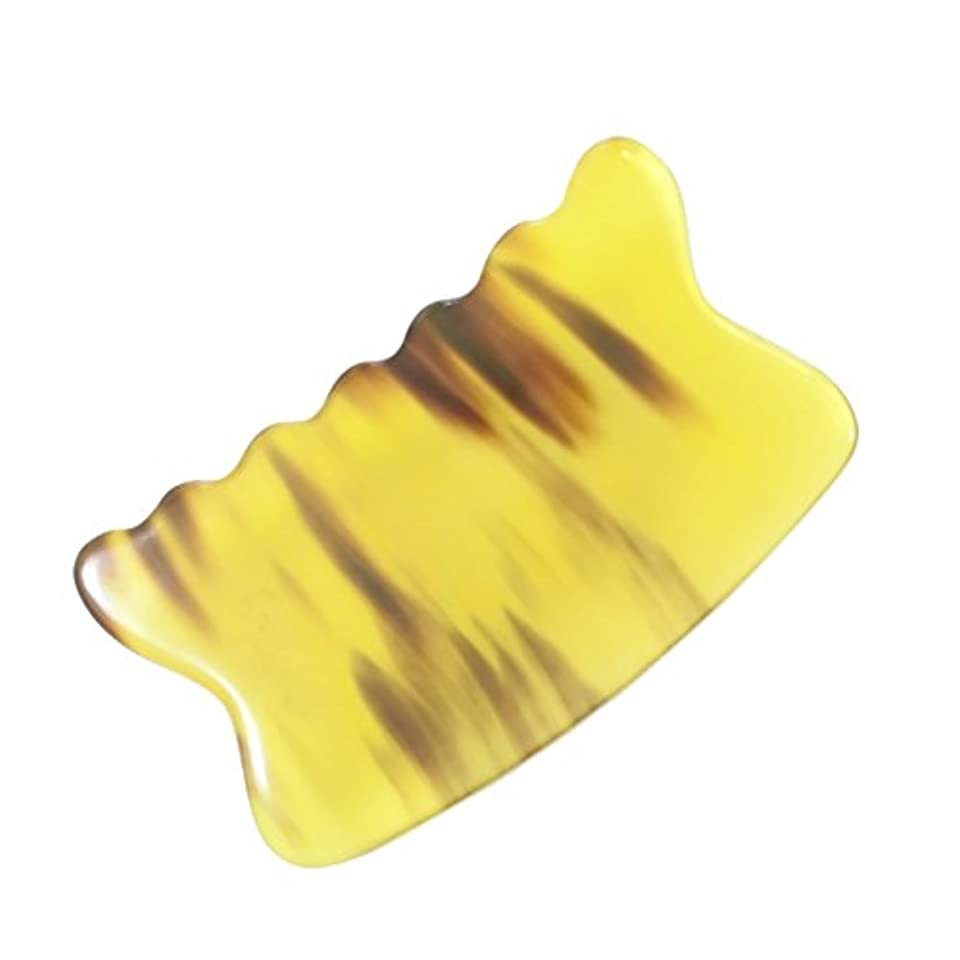 崖悲劇的な観点かっさ プレート 希少59 黄水牛角 極美品 曲波型