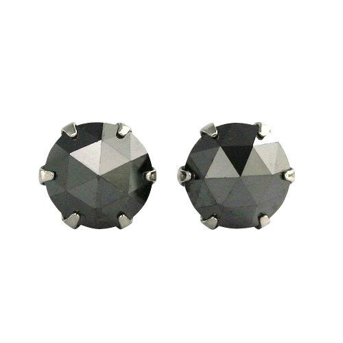 【 DIAMOND WORLD 】レディース ジュエリー PT900 ローズカット ブラックダイヤモンド ピアス 0.7ct 6本爪タイプ