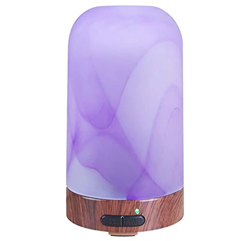 アロマセラピーエッセンシャルオイルディフューザー、ウッドグレインアロマディフューザークールミスト加湿器付きナイトライトウォーターレスオートシャットオフホームオフィスヨガ (Color : Purple)