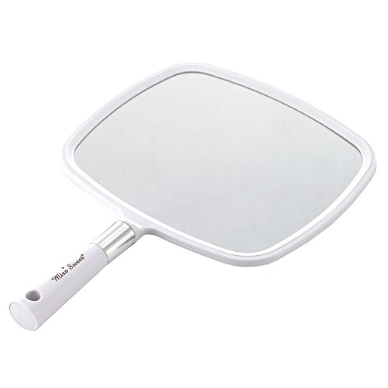 ホイスト部屋を掃除する可愛いMiss Sweet ハンドミラー 1倍大鏡 (白)