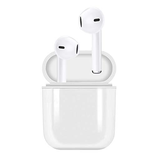 Bluetooth 5.0 アップデート版 5時間連続で音楽を再生できるワイヤレスBluetoothイヤホン1500mAh充電ケース付 自動電源On 自動接続 自動ペアリング 両耳で通話 通話・動画・ゲームで音切れなし マイクを内蔵した高音質イヤホン iPhone Android対応 (BT5.0,ホワイト)
