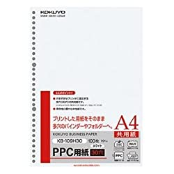 (まとめ) コクヨ PPC用紙(共用紙・多穴) A4 30穴 70g KB-109H30 1冊(100枚) 【×10セット】 [簡易パッケージ品]