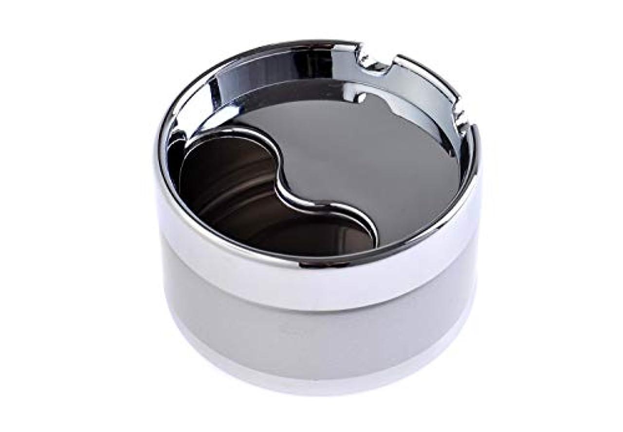 ベスト超越する広まったエレガントラウンド亜鉛合金対象灰皿、ブラック、直径8cm、スリヴァー