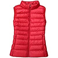 MogogN Women's Stand up Collar Lightweight Zipper Skinny Keep Warm Vest Coat Gilet