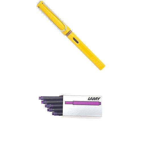 LAMY ラミー 万年筆 ペン先EF(極細字) サファリ イエロー L18-EF 両用式 コンバーター別売 正規輸入品+LAMY ラミー カートリッジインク バイオレット LT10VT 20箱セット 正規輸入品
