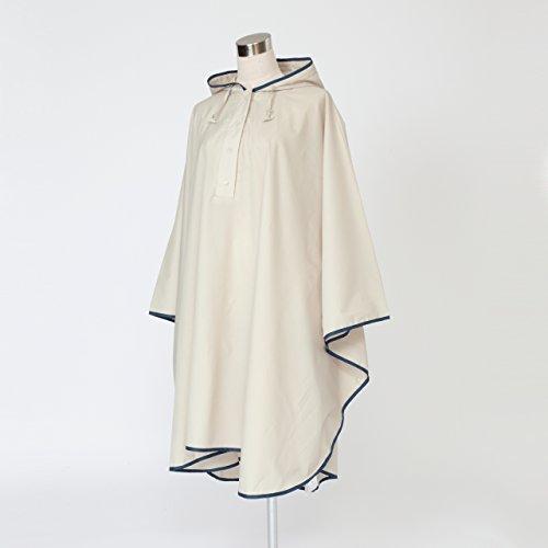 傘屋さんが作った! パイピング レインポンチョ 【LIEBEN-1600】 テフロン加工 (ベージュ)