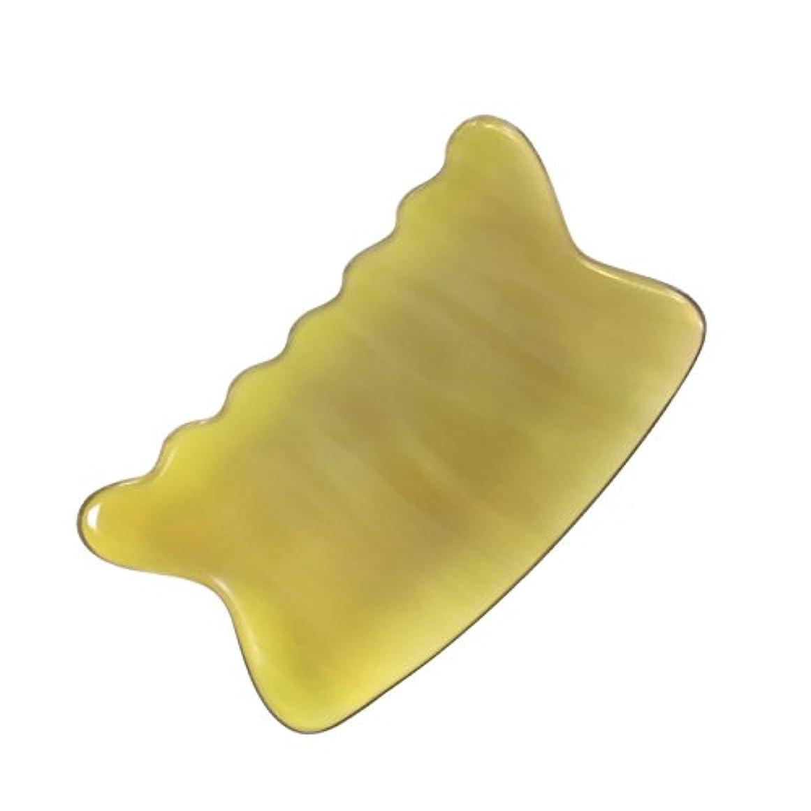 吸収する廊下共同選択かっさ プレート 希少57 黄水牛角 極美品 曲波型