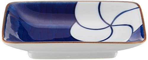 白山陶器 角チョコ 青 (約)10.5×6.5cm  ねじり梅 波佐見焼 日本製